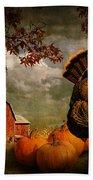 Thanksgiving Turkey Among Pumkins Beach Towel