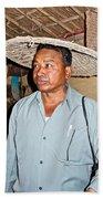 Tharu Chitwan National Park Naturalist In Tharu Village In Nepal  Beach Towel