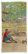 Tharu Farming Village Landscape-nepal Beach Towel