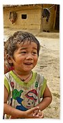 Tharu Village Children Love To Greet Us-nepal- Beach Towel