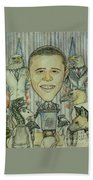 The 44th President And The Media Beach Towel