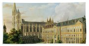 The Abbey Church Of Saint-denis And The School Of The Legion Of Honour In 1840 Oil On Canvas Beach Towel