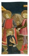 The Adoration Of The Kings And Christ On The Cross Beach Towel