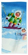 The Aerial Skier - 10 Beach Towel by Hanne Lore Koehler