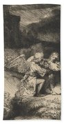 The Agony In The Garden Beach Towel by Rembrandt