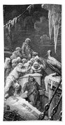 The Albatross Being Fed By The Sailors On The The Ship Marooned In The Frozen Seas Of Antartica Beach Towel by Gustave Dore