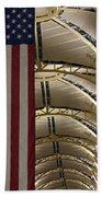 The American Flag At Reagan Airport Beach Towel