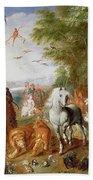 The Animals Entering Noahs Ark Panel Beach Sheet