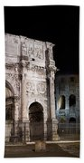 The Arch Of Constantine And The Colosseum At Night Beach Towel