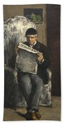 The Artists Father Reading L Evenement Beach Towel