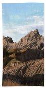 The Badlands In South Dakota Oil Painting Beach Towel