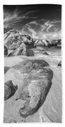 The Baths In Black And White Beach Towel
