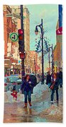The Bay Department Store Downtown Montreal University And St Catherine Winter City Scene C Spandau  Beach Towel