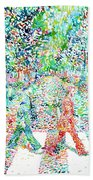 The Beatles - Abbey Road - Watercolor Painting Beach Towel
