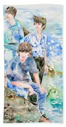 The Beatles At The Sea - Watercolor Portrait Beach Towel