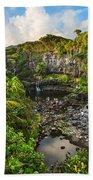 The Beautiful Scene Of The Seven Sacred Pools Of Maui. Beach Towel
