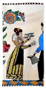The Betrothal-folk Art Beach Towel