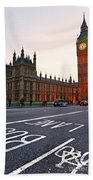 The Big Ben Bus Lane - London Beach Towel