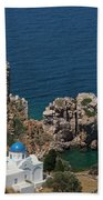 The Blue Domed Church At The Water S Beach Towel