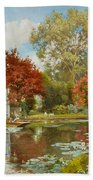 The Boathouse Beach Towel by Alfred Parsons