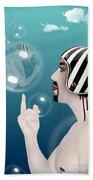 the Bubble man Beach Towel