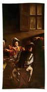 The Calling Of St Matthew Beach Towel by Michelangelo Merisi o Amerighi da Caravaggio