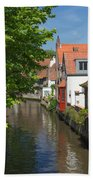 The Canal In The Downtown Of Bruges  Beach Towel