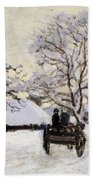 The Carriage- The Road To Honfleur Under Snow Beach Towel