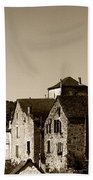 The Castle Above The Village Panorama In Sepia Beach Towel