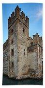 The Castle Of Sirmione. Lago Di Garda Beach Towel