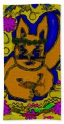 The Cat And His Fish Popart Beach Towel