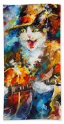 The Cat And The Guitar Beach Towel