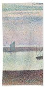 The Channel At Gravelines In The Evening Beach Towel