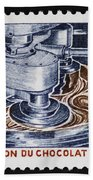 The Chocolate Factory Vintage Postage Stamp Beach Towel