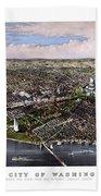 The City Of Washington Birds Eye View Beach Towel
