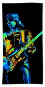 The Colorful Sound Of Mick Playing Guitar Beach Towel