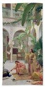 The Court Of The Harem Beach Towel by Albert Girard