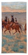 The Cowpunchers Beach Towel by Frederic Remington