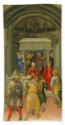 The Crippled And Sick Cured At The Tomb Of Saint Nicholas Beach Towel by Gentile da Fabriano