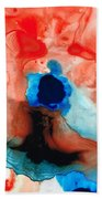The Dancer - Abstract Red And Blue Art By Sharon Cummings Beach Sheet