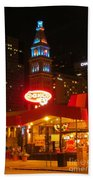The Daniels And  Fisher Tower At Night Beach Towel