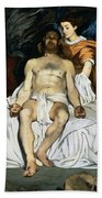 The Dead Christ And Angels Beach Towel by Edouard Manet
