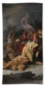 The Death Of General Montgomery In The Attack On Quebec, December 31, 1775, 1786 Oil On Canvas Beach Towel