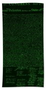 The Declaration Of Independence In Negative Green Beach Towel by Rob Hans