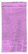 The Declaration Of Independence In Pink Beach Towel