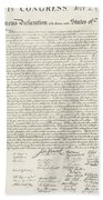 The Declaration Of Independence In Red White And Blue Beach Towel by Rob Hans