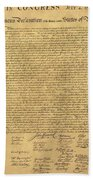 The Declaration Of Independence In Sepia Beach Towel