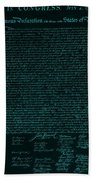 The Declaration Of Independence In Turquoise Beach Towel