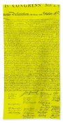 The Declaration Of Independence In Yellow Beach Towel