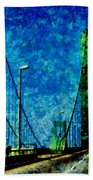 The Delaware Memorial Bridge Beach Sheet by Angelina Vick